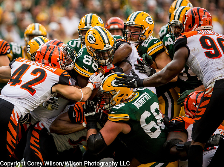 Green Bay Packers vs. Cincinnati Bengals at Lambeau Field in Green Bay, Wis., on September 24, 2017. The Packers won 27-24.