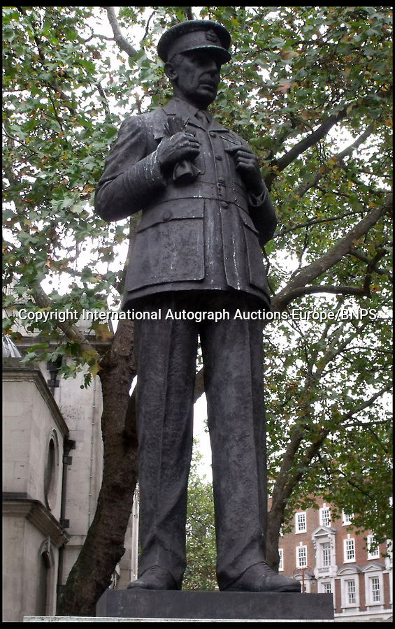 BNPS.co.uk (01202 558833)<br /> Pic: LaidlawAuctioneers/BNPS<br /> <br /> Air Chief Marshall Hugh Dowding's statue in London.<br /> <br /> Controversial policy to abandon France revealed in  RAF chiefs letter from 16th May 1940.<br /> <br /> A historically significant letter penned by Air Chief Marshal Hugh Dowding outlining the case for 'sacrificing' France to allow Britain to better defend itself from a Nazi invasion has emerged for sale at auction.<br /> <br /> The head of Fighter Command state's 'not one extra fighter' should be deployed to help their beleaguered ally across the channel 'however urgent and insistent the appeals for help may be'.<br /> <br /> And he chillingly concludes that diverting more resources  would cause the 'final, complete and irremediable defeat of this country' in World War Two.<br /> <br /> Although subsequent events in the Battle of Britain fully vindicated Dowdings decision the policy still rankles with some French historians to this day.