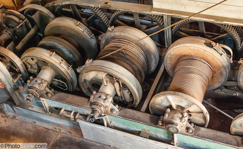 Wire cable spools, Yankee Fork Gold Dredge 1940-1952, Idaho