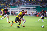 Borussia Dortmund Forward Pierre-Emerick Aubameyang (L) in action against AC Milan Defender Gabriel Paletta (R) during the International Champions Cup 2017 match between AC Milan vs Borussia Dortmund at University Town Sports Centre Stadium on July 18, 2017 in Guangzhou, China. Photo by Marcio Rodrigo Machado / Power Sport Images