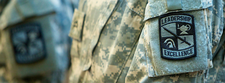 Patches on a military service person's uniform. (DePaul University/Jeff Carrion)