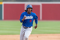 Rancho Cucamonga Quakes right fielder Carlos Rincon (16) during a California League game against the Visalia Rawhide on April 8, 2019 in Visalia, California. Rancho Cucamonga defeated Visalia 4-1. (Zachary Lucy/Four Seam Images)