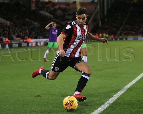 8th December 2017, Bramall Lane, Sheffield, England; EFL Championship football, Sheffield United versus Bristol City; John Lundstram of Sheffield United crosses the ball into the box