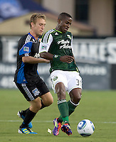 Lovel Palmer of Timbers controls the ball away from Brad Ring of Earthquakes during the game at Buck Shaw Stadium in Santa Clara, California on August 6th, 2011.   San Jose Earthquakes and Portland Timbers tied 1-1.