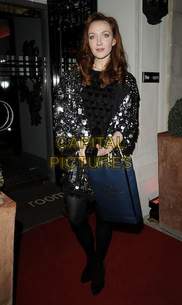 OLIVIA GRANT.The Red Room Launch Party at Les Ambassadeurs Club, Mayfair, London, England..November 2nd 2009.full length black silver sequined sequin dress coat jacket tights shoes blue bag discs paillettes .CAP/CAN.©Can Nguyen/Capital Pictures.
