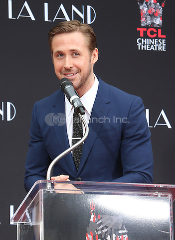 Hollywood, CA - DECEMBER 07: Ryan Gosling, At Ryan Gosling And Emma Stone Hand And Footprint Ceremony At TCL Chinese Theatre IMAX, California on December 07, 2016. Credit: Faye Sadou/MediaPunch