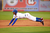 Chattanooga Lookouts outfielder Byron Buxton (7) slides in head first on a stolen base during a game against the Jacksonville Suns on April 30, 2015 at AT&T Field in Chattanooga, Tennessee.  Jacksonville defeated Chattanooga 6-4.  (Mike Janes/Four Seam Images)