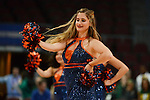 March 6, 2014; Las Vegas, NV, USA; Pepperdine Waves dancer performs against the Santa Clara Broncos during the first half of the WCC Basketball Championships at Orleans Arena. The Waves defeated the Broncos 80-74.