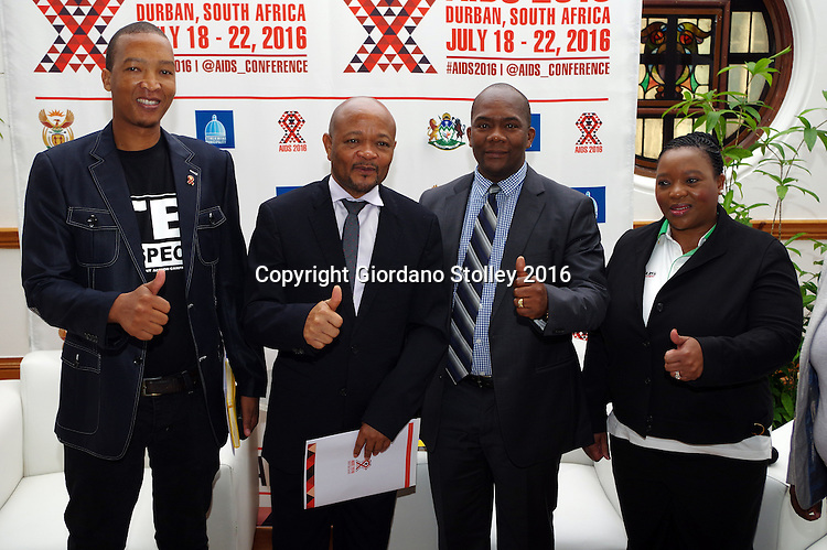 DURBAN - 8 April 2016 - Aids activist Patrick Mdletshe, Senzo Mchunu, the premier of South Africa's KwaZulu-Natal province, eThekwini Metro Municipal mayor James Nxumalo and the province's Cooperative Governance and Traditional Affairs MEC (provincial minister) Nomusa Dube-Ncube gives the thumbs up for the readines of the city of Durban to host the 21st International Aids Conference. The press conference together with other festivities marked 100 days to the beginning of the conference, which will be held from 18 to 22 July 2016. It is the second time the conference is being held in the city. South Africa has the largest number of people living with the disease in the world and one of the largest rates of infection. Picture: Allied Picture Press/APP