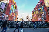 New York (EUA) 05/02/2019 - Arte / Eua / Os Gemeos)  - Mural dos artistas brasileiros Os Gemeos é visto na Ilha de Manhattan em Nova York nos Estados Unidos nesta terça-feira, 05. (Foto: Vanessa Carvalho/Brazil Photo Press / Agencia O Globo) Mundo