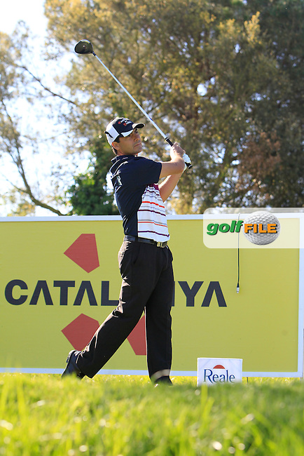 Felipe Aguilar (CHI) on the 13th tee during Thursday's Round 1 of The Open De Espana at The PGA Catalunya Resort. 15th May 2014.<br /> Picture:  Thos Caffrey / www.golffile.ie