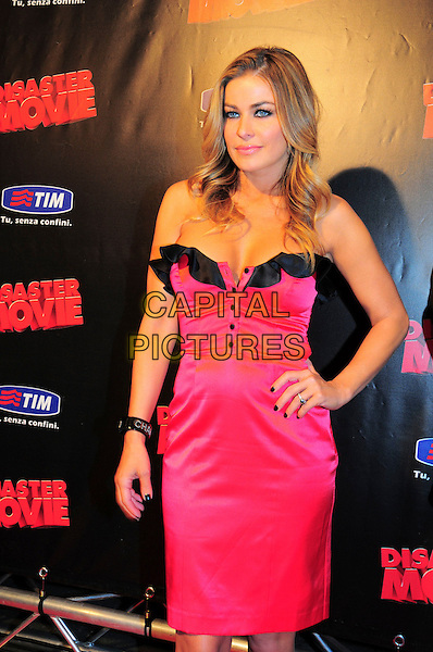"CARMEN ELECTRA .Italian Film Premiere for ""Disaster Movie"" in Rome, Italy, October 8th 2008..half length pink dress black trim ruffle buttons strapless hand on hip.CAP/CAV.©Luca Cavallari/Capital Pictures"