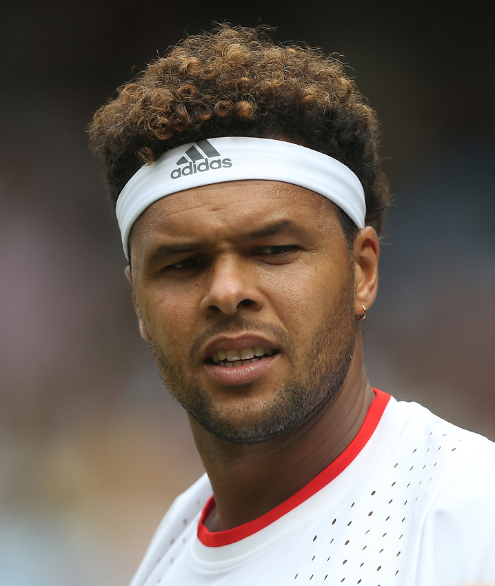 Jo-Wilfried Tsonga (FRA) during his match against Rafael Nadal (ESP)  in their Gentleman's Singles Third Round match<br /> <br /> Photographer Rob Newell/CameraSport<br /> <br /> Wimbledon Lawn Tennis Championships - Day 6 - Saturday 6th July 2019 -  All England Lawn Tennis and Croquet Club - Wimbledon - London - England<br /> <br /> World Copyright © 2019 CameraSport. All rights reserved. 43 Linden Ave. Countesthorpe. Leicester. England. LE8 5PG - Tel: +44 (0) 116 277 4147 - admin@camerasport.com - www.camerasport.com