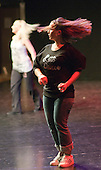 "Hannah Greenslade & Kerry Peart rehearse.  Special Olympics Surrey put on a show,   ""Beyond the Stars"", at the Rose Theatre, Kingston upon Thames to raise money for the  SOGB team.  The Special Olympics are for athletes with learning disabilities."