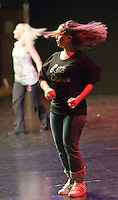"""Hannah Greenslade & Kerry Peart rehearse.  Special Olympics Surrey put on a show,   """"Beyond the Stars"""", at the Rose Theatre, Kingston upon Thames to raise money for the  SOGB team.  The Special Olympics are for athletes with learning disabilities."""
