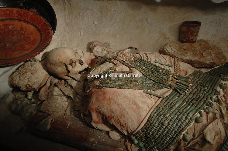 Maya Rise and Fall, Calakmul, Campeche, Mexico, Reconstruction of burial,  Museo de Arqueologia Maya, Reducto de San Miguel, dress, skull