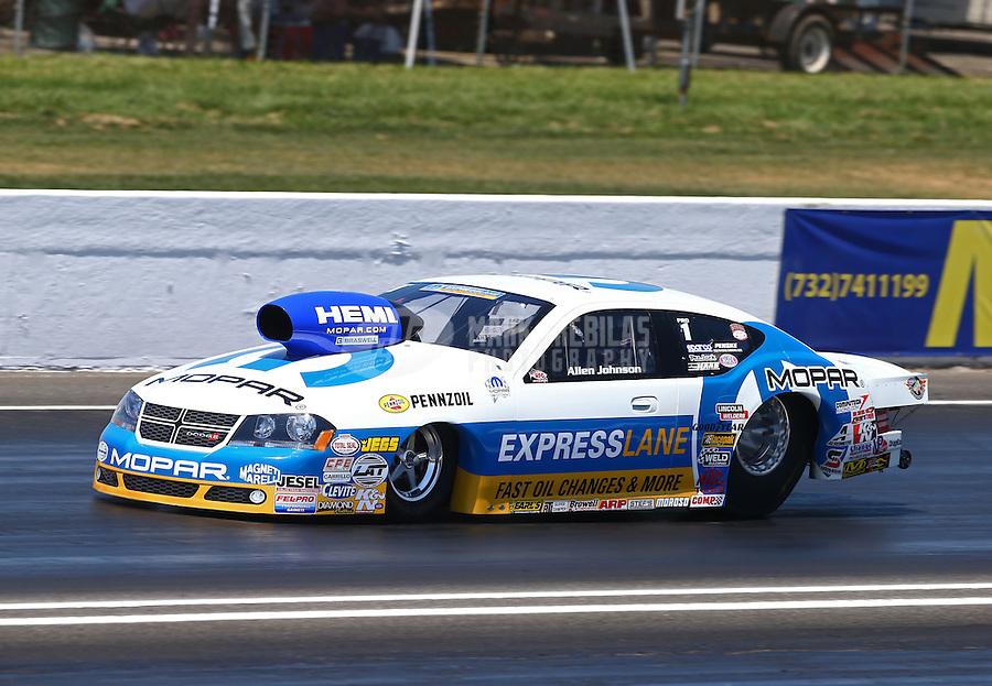 Jun. 1, 2013; Englishtown, NJ, USA: NHRA pro stock driver Allen Johnson during qualifying for the Summer Nationals at Raceway Park. Mandatory Credit: Mark J. Rebilas-