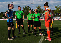 Kansas City, MO - Sunday July 02, 2017:  Referee Karen Abt performs a coin toss before team Captains Becky Sauerbrunn and Carli Lloyd before a regular season National Women's Soccer League (NWSL) match between FC Kansas City and the Houston Dash at Children's Mercy Victory Field.