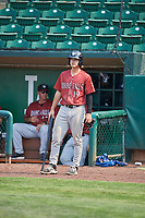 Reed Rohlman (19) of the Idaho Falls Chukars on deck against the Ogden Raptors at Lindquist Field on July 29, 2018 in Ogden, Utah. The Raptors defeated the Chukars 20-19. (Stephen Smith/Four Seam Images)