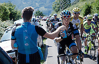 Nicolas Roche (IRL/SKY) getting handed a fresh bidon on the way up<br /> <br /> stage 16: Luarca - Ermita de Alba. Quiros (185km)<br /> 2015 Vuelta &agrave; Espagna