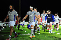 Guy Mercer of Bath Rugby leads the team off the field at the end of the pre-match warm-up. European Rugby Challenge Cup match, between Pau (Section Paloise) and Bath Rugby on October 15, 2016 at the Stade du Hameau in Pau, France. Photo by: Patrick Khachfe / Onside Images