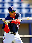 6 March 2007: Washington Nationals first base coach Jerry Morales hits some practice grounders during batting practice prior to facing the Atlanta Braves at Space Coast Stadium in Viera, Florida. <br /> <br /> Mandatory Photo Credit: Ed Wolfstein Photo