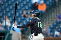 Connor Kaiser (18) of the Ocelotes de Greensboro at bat against the Hickory Crawdads at First National Bank Field on June 11, 2019 in Greensboro, North Carolina. The Crawdads defeated the Ocelotes 2-1. (Brian Westerholt/Four Seam Images)