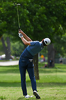 Joaquin Niemann (CHL) hits his approach shot on 3 during round 4 of the 2019 Charles Schwab Challenge, Colonial Country Club, Ft. Worth, Texas,  USA. 5/26/2019.<br /> Picture: Golffile | Ken Murray<br /> <br /> All photo usage must carry mandatory copyright credit (© Golffile | Ken Murray)