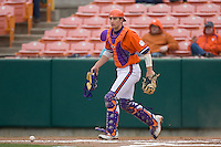 Catcher John Nester #17 of the Clemson Tigers blocks a pitch in the dirt at Doug Kingsmore stadium March 13, 2009 in Clemson, SC. (Photo by Brian Westerholt / Four Seam Images)