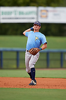 Tampa Bay Rays Ford Proctor (35) throws to first base during a Florida Instructional League game against the Baltimore Orioles on October 1, 2018 at the Charlotte Sports Park in Port Charlotte, Florida.  (Mike Janes/Four Seam Images)