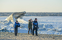 People walk along the frozen Delaware Bay near the SS Atlantus sunken ship Friday, January 05, 2018 in Cape May Point, New Jersey. (Photo by William Thomas Cain/Cain Images)