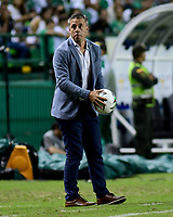 PALMIRA - COLOMBIA, 26-05-2019: Lucas Pusineri técnico del Cali gesticula durante partido entre Deportivo Cali y Atlético Nacional por la fecha 4, cuadrangulares semifinales, de la Liga Águila I 2019 jugado en el estadio Deportivo Cali de la ciudad de Palmira. / Lucas Pusineri coach of Cali gestures during match between Deportivo Cali and Atletico Nacional for the date 4, semifinal quadrangulars, as part Aguila League I 2019 played at Deportivo Cali stadium in Palmira city.  Photo: VizzorImage / Nelson Rios / Cont