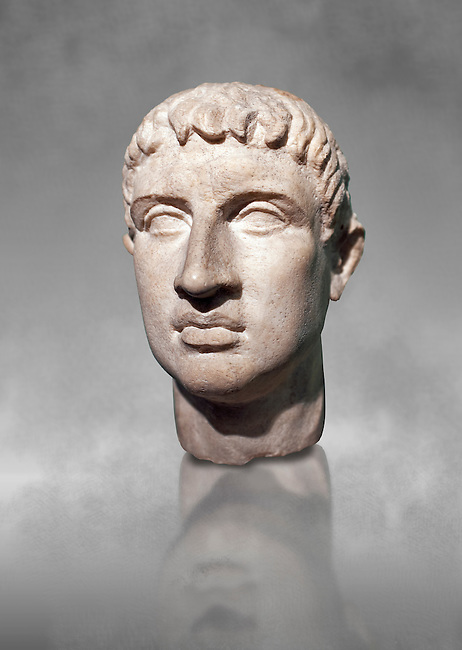 Roman head sculpture in the 'Italic cubism ' style, 2nd - 3rd century BC, found in the foundations of the Ministery of Finance on the via XX Septembre, Rome. The head, the back of which was not completed, shows markedly realistic, clear features. The style, a blend of Greek art and Italic traditions, is traceable to Etruscan portraiture of the so called 'Italic cubism' of the 3rd century BC, and local stone used was well suited to this genre. It is believed to be the only known example of this style and has been roughly dated to between the 3rd and 2nd century BC. The National Roman Museum, Rome, Italy