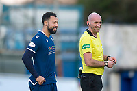 1st February 2020; Cappielow Park, Greenock, Inverclyde, Scotland; Scottish Championship Football, Greenock Morton versus Dundee Football Club; Referee Bobby Madden shares a laugh with Kane Hemmings of Dundee