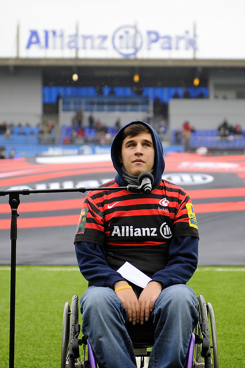20130324 Copyright onEdition 2013©.Free for editorial use image, please credit: onEdition..Henry Fraser, brother of Saracens player Will Fraser, officially opens the Premiership Rugby match between Saracens and Harlequins at Allianz Park on Sunday 24th March 2013 (Photo by Rob Munro)..For press contacts contact: Sam Feasey at brandRapport on M: +44 (0)7717 757114 E: SFeasey@brand-rapport.com..If you require a higher resolution image or you have any other onEdition photographic enquiries, please contact onEdition on 0845 900 2 900 or email info@onEdition.com.This image is copyright onEdition 2013©..This image has been supplied by onEdition and must be credited onEdition. The author is asserting his full Moral rights in relation to the publication of this image. Rights for onward transmission of any image or file is not granted or implied. Changing or deleting Copyright information is illegal as specified in the Copyright, Design and Patents Act 1988. If you are in any way unsure of your right to publish this image please contact onEdition on 0845 900 2 900 or email info@onEdition.com