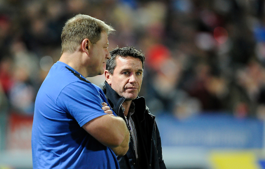 Bath Rugby's Coach Mike Ford (right) during the pre-match warm-up <br /> <br /> Photographer Ashley Western/CameraSport<br /> <br /> Rugby Union - Aviva Premiership - Gloucester v Bath Rugby - Saturday 20th December 2014 - Kingsholm Stadium - Gloucester<br /> <br /> &copy; CameraSport - 43 Linden Ave. Countesthorpe. Leicester. England. LE8 5PG - Tel: +44 (0) 116 277 4147 - admin@camerasport.com - www.camerasport.com