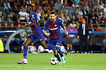 UEFA Champions League 2017/2018 - Matchday 1.<br /> FC Barcelona vs Juventus Football Club: 3-0.<br /> Ousmane Dembele &amp; Lionel Messi.