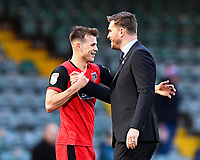 Grimsby Town Manager Michael Jolley right celebrates with Jake Hessenthaler of Grimsby Town at the final whistle during Yeovil Town vs Grimsby Town, Sky Bet EFL League 2 Football at Huish Park on 9th February 2019