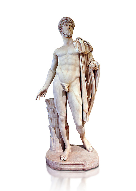 Roman marble sculpture bust of Lucius Verus with the body of Diomedes, Cuma Munich Type, 160-170 AD, inv 6095, Museum of Archaeology, Italy