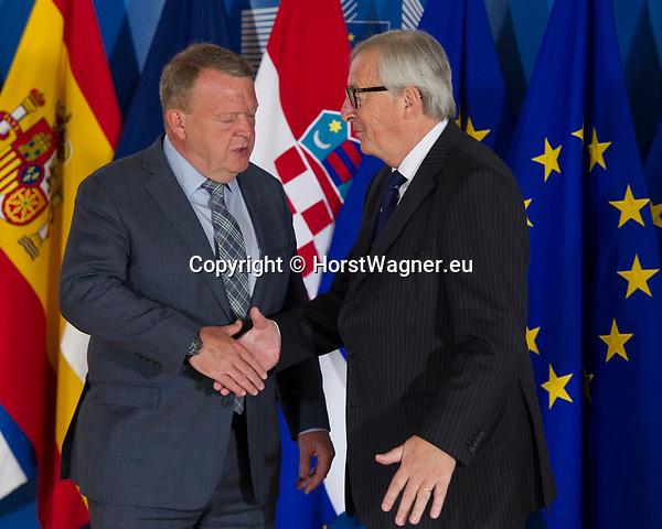 Belgium, Brussels - June 24, 2018 -- Informal working meeting on migration and asylum issues convened by Jean-Claude JUNCKER (ri), President of the European Commission, here welcoming Lars Lokke RASMUSSEN (le), Prime Minister of Denmark -- Photo © HorstWagner.eu