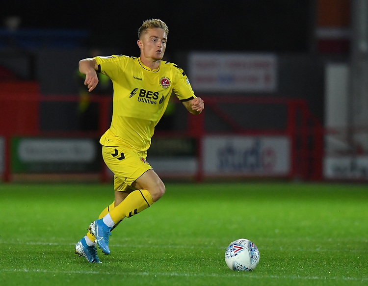 Fleetwood Town's Kyle Dempsey in action on his first start <br /> <br /> Photographer Dave Howarth/CameraSport<br /> <br /> EFL Leasing.com Trophy - Northern Section - Group B - Tuesday 3rd September 2019 - Accrington Stanley v Fleetwood Town - Crown Ground - Accrington<br />  <br /> World Copyright © 2019 CameraSport. All rights reserved. 43 Linden Ave. Countesthorpe. Leicester. England. LE8 5PG - Tel: +44 (0) 116 277 4147 - admin@camerasport.com - www.camerasport.com