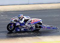 Sep 13, 2014; Concord, NC, USA; NHRA pro stock motorcycle rider Hector Arana Jr during qualifying for the Carolina Nationals at zMax Dragway. Mandatory Credit: Mark J. Rebilas-USA TODAY Sports