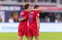 WASHINGTON, DC - OCTOBER 11: Josh Sargent #19 of the United States celebrates his goal with Jordan Morris #11 during a game between Cuba and USMNT at Audi Field on October 11, 2019 in Washington, DC.