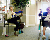 Nina Schlette and Lillian Hubsher do their strengthening excersizes during a class instructed by May Goldstein at the Greenwood House in Ewing, NJ on Tuesday November 25, 2003. photo by jane therese
