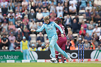 Joe Root (England) accepts the return chance from Jason Holder (West Indies) and starts to celebrate during England vs West Indies, ICC World Cup Cricket at the Hampshire Bowl on 14th June 2019