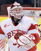 Kieran Millan (BU - 31) made 35 saves on 36 shots in the game. - The visiting Merrimack College Warriors tied the Boston University Terriers 1-1 on Friday, November 12, 2010, at Agganis Arena in Boston, Massachusetts.