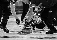 Glasgow. SCOTLAND. [L]Hammy McMILLAN and Ross PATERSON, sweeping Glen MUIRHEAD&quot;S, Stone during the  &quot;Round Robin&quot; Game,  Scotland vs Italy at the Le Gruy&egrave;re European Curling Championships. 2016 Venue, Braehead  Scotland<br /> Wednesday  23/11/2016<br /> <br /> [Mandatory Credit; Peter Spurrier/Intersport-images]