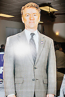 A cardboard cutout of Kentucky Senator and Republican presidential candidate Rand Paul stands at the annual Coalition of New Hampshire Taxpayers Picnic at the Hillsborough American Legion #59 in Hillsborough, New Hampshire. Representatives from most of the candidates running for president were at the picnic, as were members of local conservative political groups.