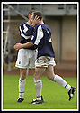 24/8/02         Copyright Pic : James Stewart                     .File Name : stewart-alloa v falkirk 28.ANDY LAWRIE IS CONGRATULATED BY STEVEN TOSH AFTER SCORING FALKIRK'S THIRD GOAL....James Stewart Photo Agency, 19 Carronlea Drive, Falkirk. FK2 8DN      Vat Reg No. 607 6932 25.Office : +44 (0)1324 570906     .Mobile : + 44 (0)7721 416997.Fax     :  +44 (0)1324 570906.E-mail : jim@jspa.co.uk.If you require further information then contact Jim Stewart on any of the numbers above.........