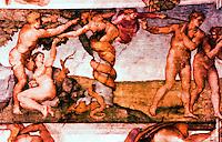 """Vatican:  Sistine Chapel--Vault fresco,  """"Original Sin"""" by Michelangelo, 1508-1512."""